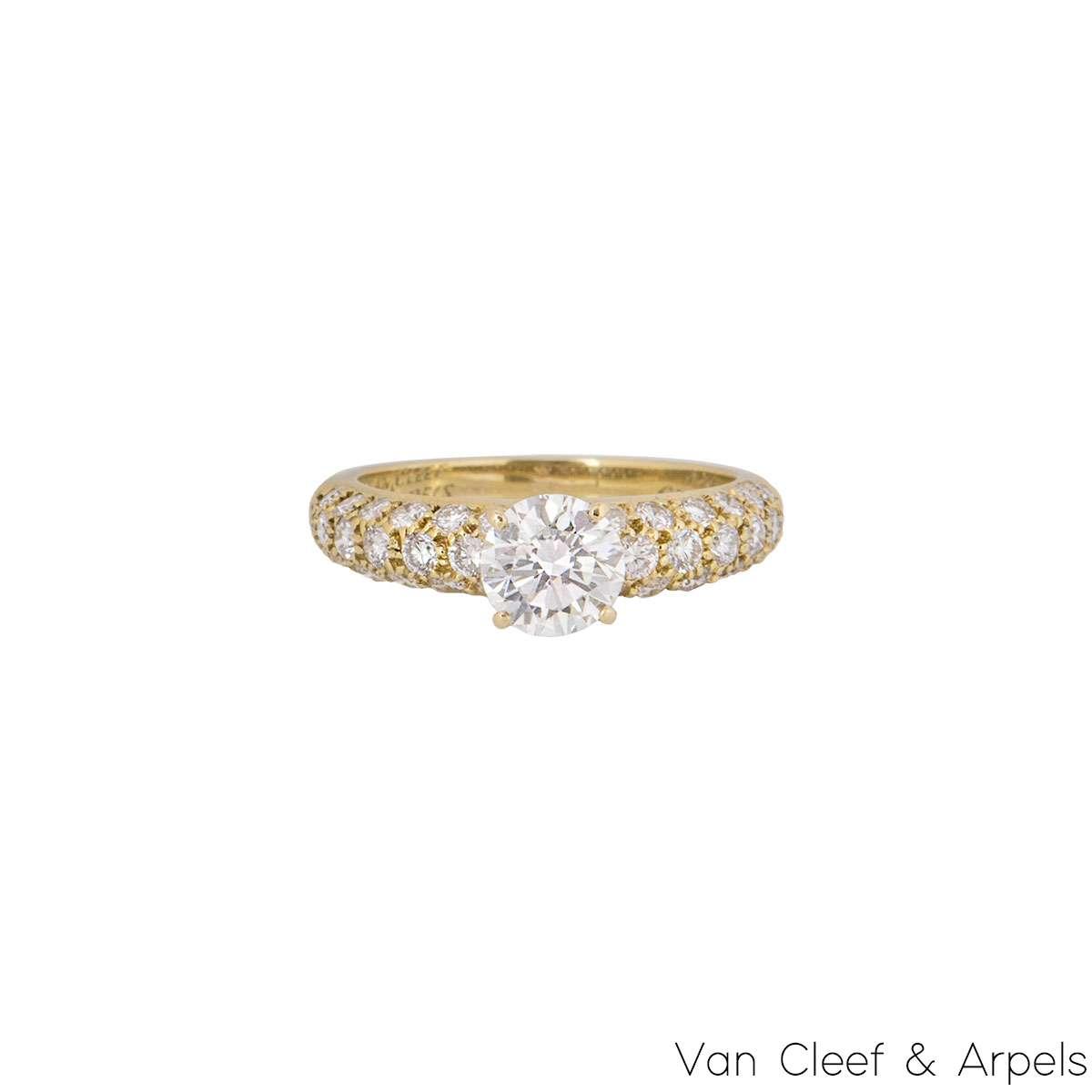 Van Cleef & Arpels 18k Yellow Gold Diamond Ring 0.79ct